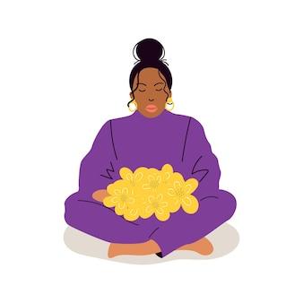 손에 꽃다발을 들고 있는 소녀. 어머니의 날, 생일, 국제 여성의 날 인사말 카드 디자인. 손으로 그린 만화 평면 그림입니다. 벡터 일러스트 레이 션