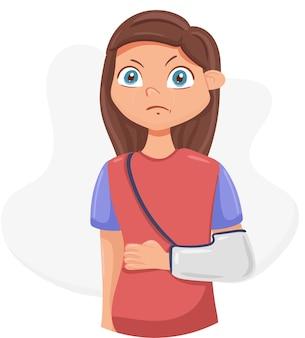 Девушка со сломанной рукой в повязке. рука в гипсе