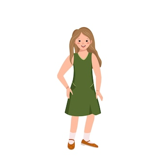 얼굴에 갈색 머리에 녹색 드레스를 입고 신발을 신은 소녀가 춤을 추고 있습니다. 행복한 귀여운 아이 미소. 캐주얼 여름 옷을 입은 십대. 세계 국제 어린이의 날. 벡터 평면 그림