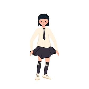 얼굴에 검은 머리, 단발머리, 교복을 입은 소녀. 행복한 웃는 아이. 똑똑한 흑백 옷을 입은 십대들. 세계 어린이의 날. 벡터 일러스트 레이 션