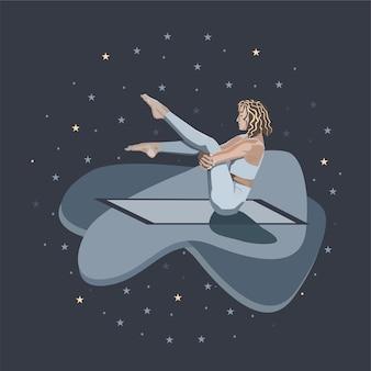 눈을 감고 있는 소녀가 별들이 있는 밤하늘을 배경으로 깔개 위에서 요가를 연습한다