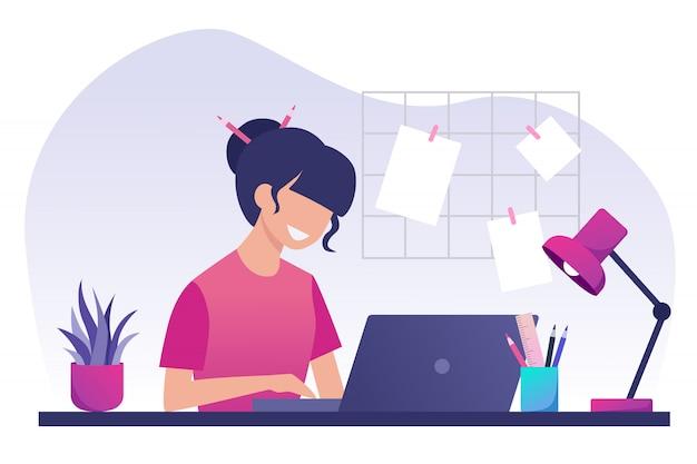 Девушка с темными волосами работает на ноутбуке. работа из дома. freelance. оставайся дома. плоская иллюстрация.