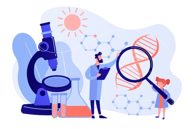 Девушка с лупой и ученый проводят эксперимент, крохотные человечки. детский научный лагерь, уроки молодых ученых, концепция лабораторных тестов для детей. розовый коралловый синий вектор изолированных иллюстрация