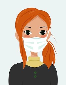 전염병 동안 건강을 돌보는 빨간 머리 의료 마스크를 쓴 소녀