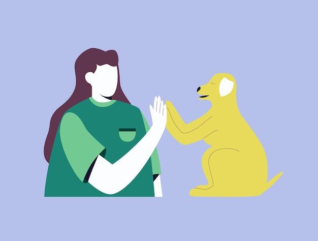 顔のない女の子とペット。女性が犬をハイタッチします。トレンディなスタイルの明るいベクトルイラスト。