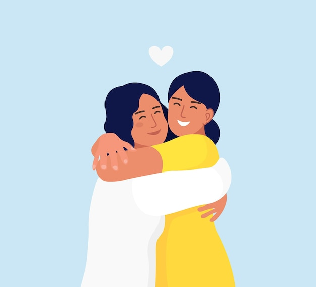 笑顔で抱き合う女の子たち。 2人の友人の幸せな出会い。友情、ケア、愛の概念