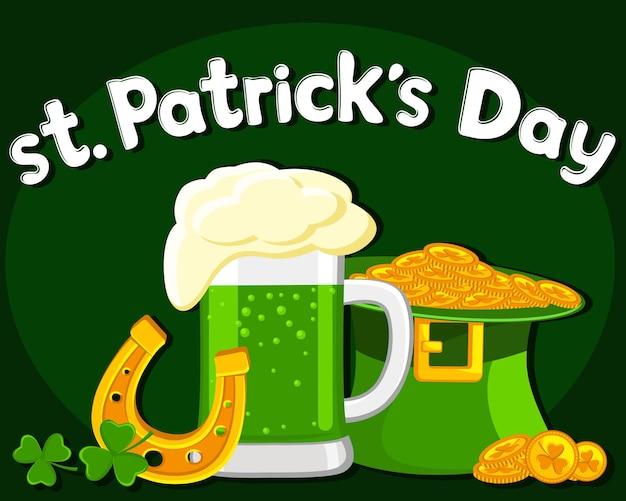 ビールとコインの帽子のグラス。聖パトリックの日。