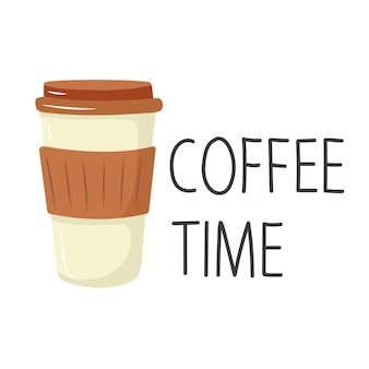 一杯のコーヒーレタリングコーヒー時間漫画スタイル