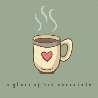 ホットチョコレートのシンボルのガラスソーシャルメディア投稿ベクトルイラスト