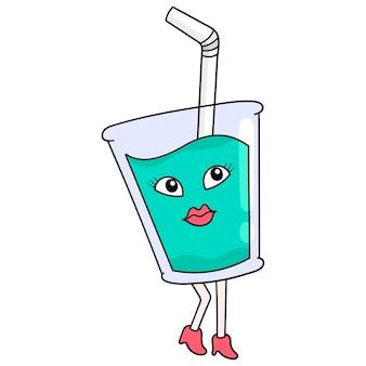 술에 취해 벡터 일러스트레이션 예술인 아름답고 섹시한 소녀 캐릭터 시럽 한 잔. 낙서 아이콘 이미지 귀엽다.