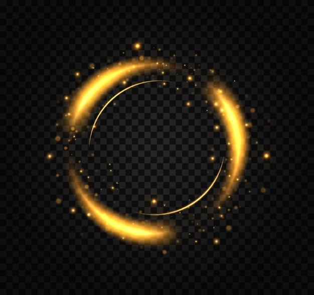 황금빛 섬광이 빛나는 고리에서 원을 그리며 날아갑니다.