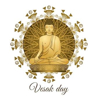 Золотая статуя молодого будды. день весак.