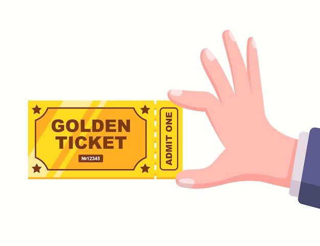 사람의 손에 있는 황금색 고유 티켓. 평면 벡터 일러스트 레이 션.