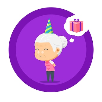 Бабушка думает о подарке на день рождения