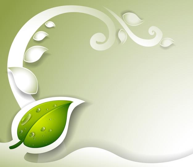 緑色の葉のある灰色の文房具