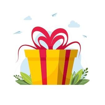 Отличный подарок с бантиком. скидки и акции. подарочная коробка с продажей. большая распродажа концепция дизайна баннера. программа лояльности для постоянных клиентов