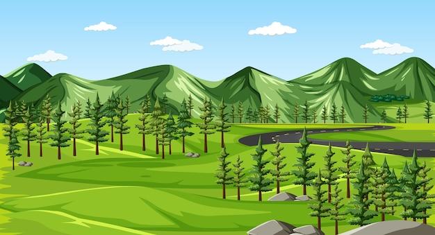 緑の自然の風景の背景