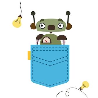 Зеленый робот выглядывает из синего кармана векторные иллюстрации в мультяшном детском стиле