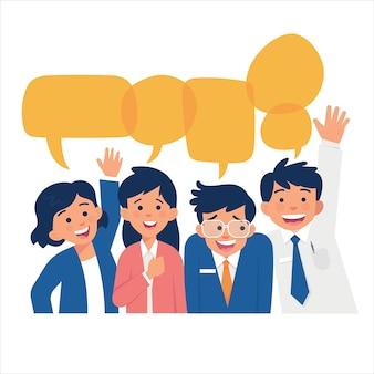 미소와 따뜻하게 환영하는 자세로 가득한 그룹