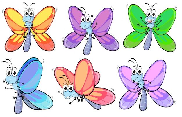カラフルな蝶のグループ