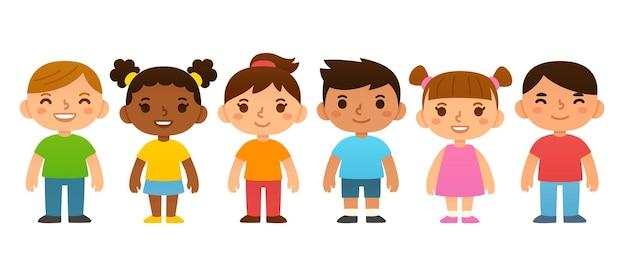 かわいい漫画の就学前の子供たちの簡単なベクトルイラストのグループ