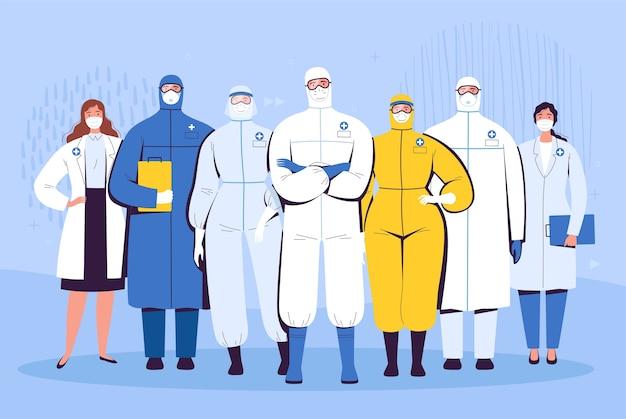 Рядом стоит группа врачей в защитных костюмах, очках и медицинских масках. концепция борьбы медицинского персонала с новым коронавирусом covid-2019.