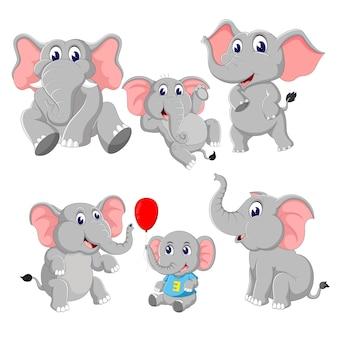 A group of elephant cartoon