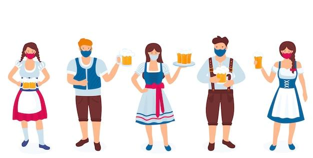 ドイツ国民の衣装と保護マスクを身に着けた男と女のグループがビールのグラスを持っています。コロナウイルス検疫covid-19中のオクトーバーフェストのお祝い。