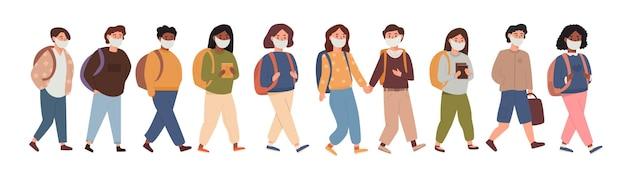 마스크를 쓰고 함께 걷는 아이들의 그룹. 팬데믹 이후 초등학교에 진학하는 어린이, 학생, 학생의 컬렉션입니다. 흰색 그림에 격리된 학교로 돌아가는 아이들.