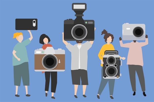 다양한 종류의 카메라를 표시하는 사람들의 그룹
