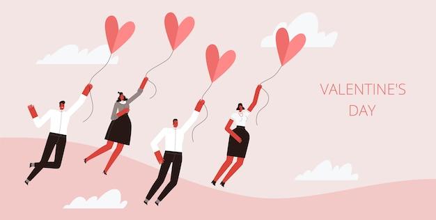 Группа людей летают в сердцах на воздушном шаре в розовом небе. изолированные на белом фоне.