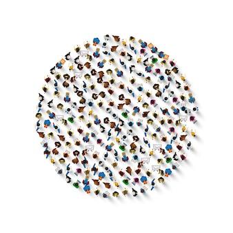 흰색 배경에 고립 된 원형 아이콘의 모양에 있는 사람들의 그룹. 벡터 일러스트 레이 션
