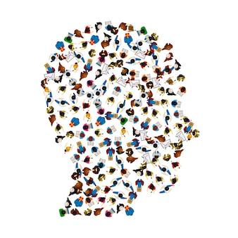 흰색 배경에 고립 된 머리 아이콘의 모양에 있는 사람들의 그룹. 벡터 일러스트 레이 션