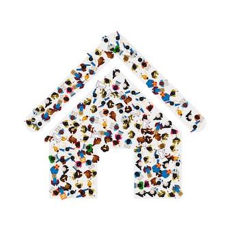 흰색 배경에 고립 된 집 아이콘의 모양에 있는 사람들의 그룹. 벡터 일러스트 레이 션