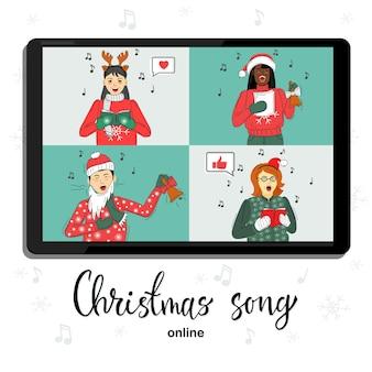 Группа людей в зимних костюмах встречается онлайн по видеоконференции. поют рождественские песни.