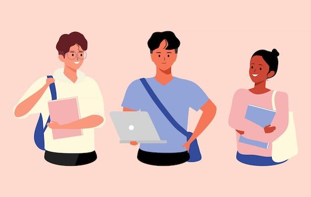 Группа в составе подростки разнообразная иллюстрация студентов колледжа или университета. счастливая группа в составе студенты с книгами и компьтер-книжкой на изолированной предпосылке. люди и концепция образования
