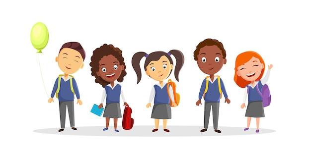 さまざまな国籍の制服を着たティーンエイジャーのグループが学校に行く漫画のベクトル