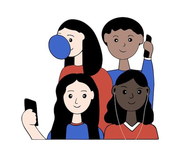 Группа подростков разной национальности и цвета кожи проводят время вместе.