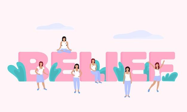 Группа крошечных женщин с розовой лентой на груди возле огромной надписи belief. национальный месяц осведомленности о раке груди.