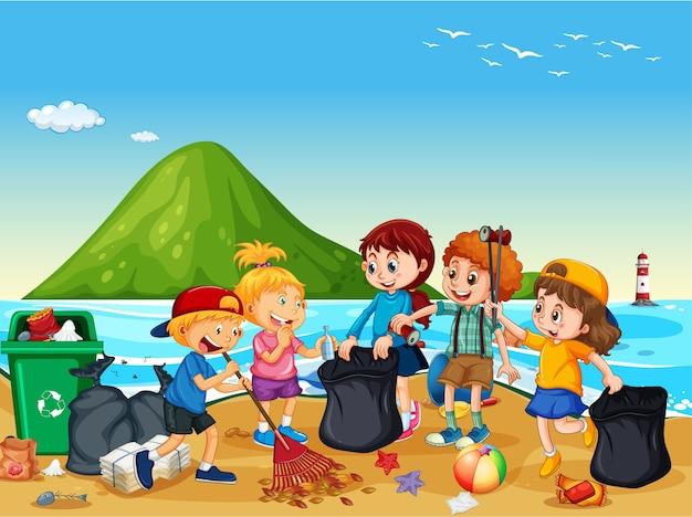 ビーチを掃除するボランティアの子供たちのグループ