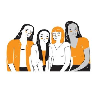 다양한 민족과 문화를 가진 여성 그룹. 선형 스타일로 그림 그리기