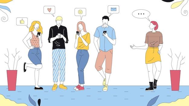 자신의 스마트 폰을 사용하는 젊은 남성과 여성 캐릭터의 그룹, 한 여자는 질문을보고 있습니다. 개요와 다채로운 벡터 일러스트입니다. 소셜 네트워킹 개념의 선형 구성.