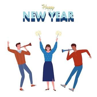 トランペットを吹いたり、花火を打ち上げたりして、新年を盛り上げるために若者たちが参加しました。