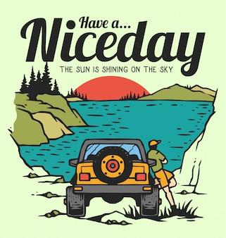 80 년대 벡터 빈티지 일러스트에서 호수와 일몰 근처 오프로드 자동차와 함께 여름날을 즐기는 사람