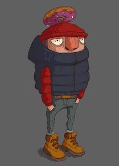 주머니에 손을 넣고 머리 위로 도넛을 든 다운 재킷을 입은 남자