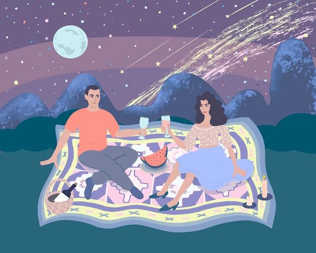 열린 하늘 아래 자연에서 낭만적인 저녁 식사에서 여자와 남자. 벡터 일러스트 레이 션