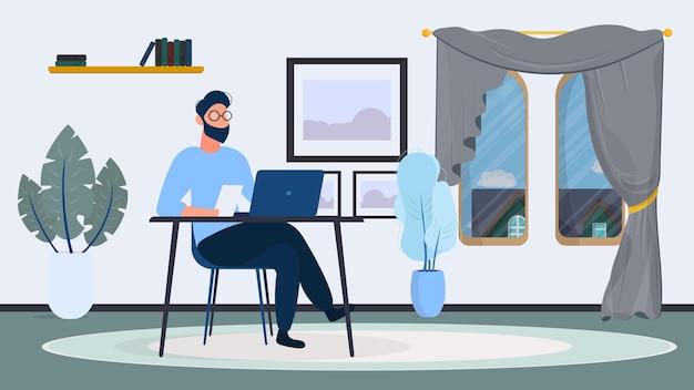 안경을 든 남자가 사무실 테이블에 앉는다. 남자는 노트북에서 작동합니다. 사무실, 책장, 사업가, 플로어 램프. 사무실 작업 개념입니다. .