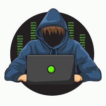 Хакер пытается взломать кибербезопасность