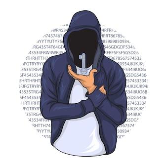 Хакер пытается разблокировать различные коды