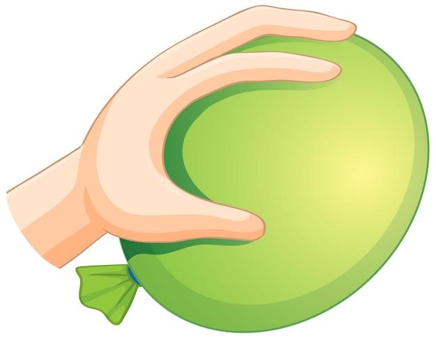 흰색 배경에 고립 된 녹색 풍선을 들고 손